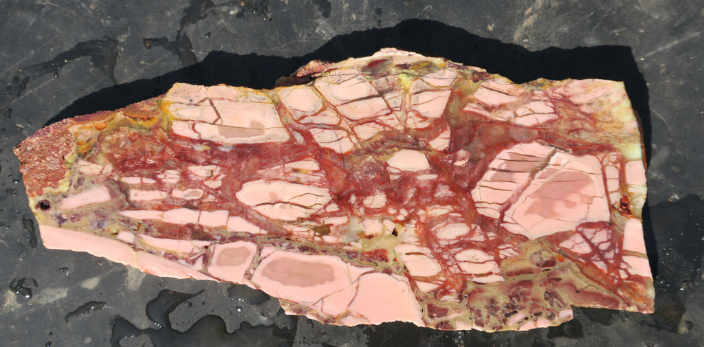 Unpolished Brecciated Pink Opal slab. POU 112