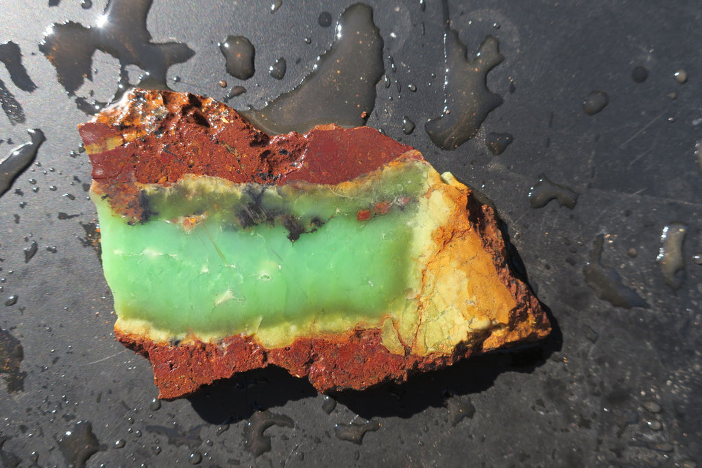 Unpolished Chrysoprase slab. CHU 112