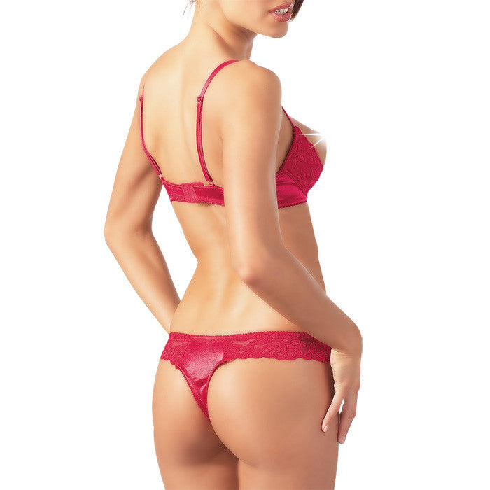 Cottelli Collection Red Lace Open Bra Set.