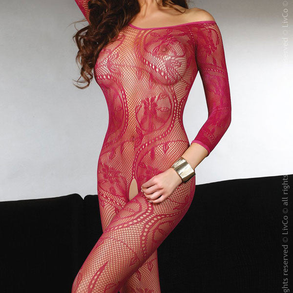 Corsetti Abra Bodystocking Maroon UK Size 8 to 12.