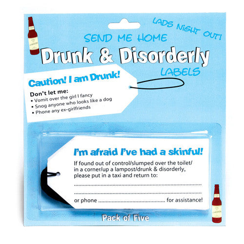 Drunk & Disorderly Labels - Boys
