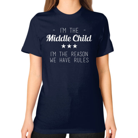 Middle Child Unisex T-Shirt Navy BudapestCanoe.Com