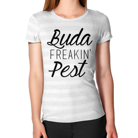 Women's T-Shirt Ash White Stripe BudapestCanoe.Com