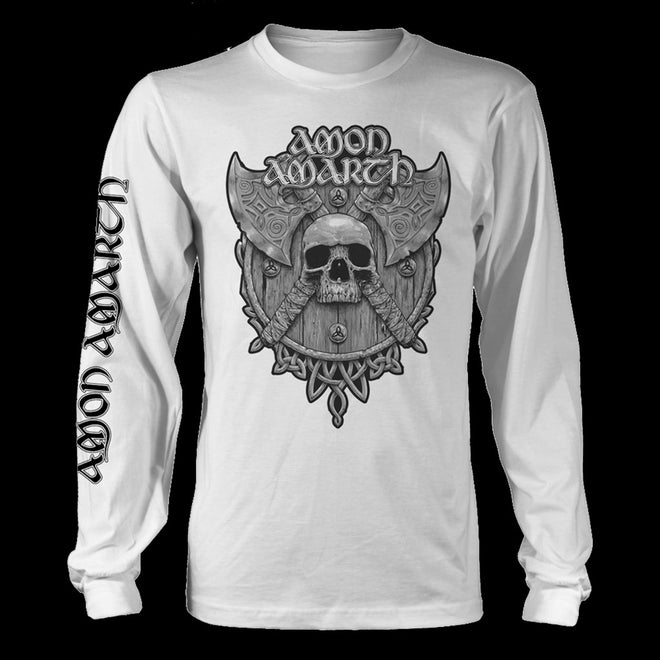 Amon Amarth - Grey Skull (White) (Long Sleeve T-Shirt)