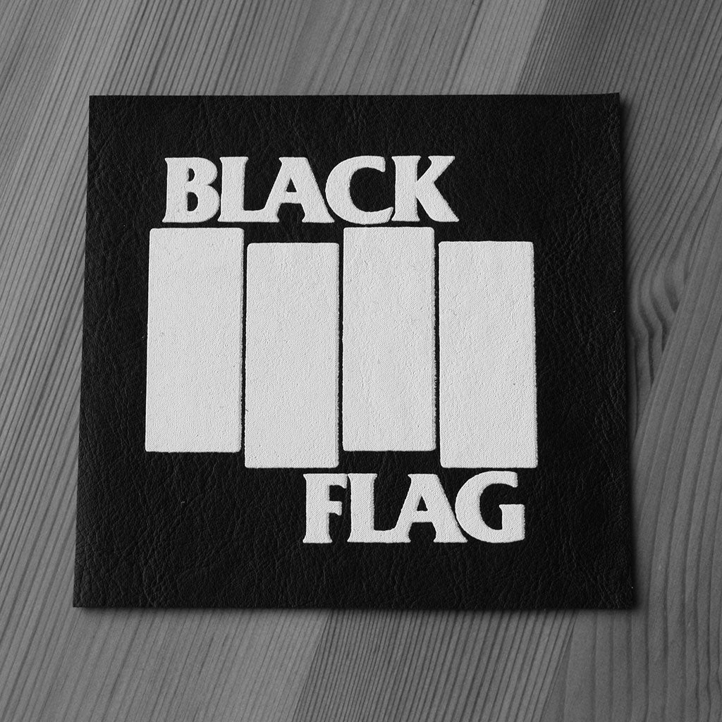 Black Flag - White Logo (Leather) (Printed Patch)