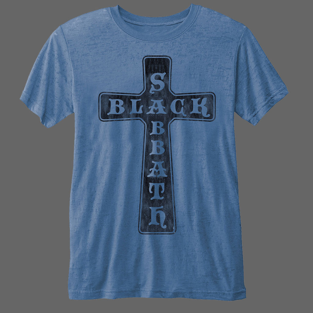 Black Sabbath - Cross Logo (Blue) (Burnout) (T-Shirt)