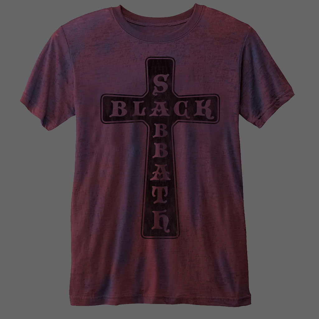 Black Sabbath - Cross Logo (Purple) (Burnout) (T-Shirt)