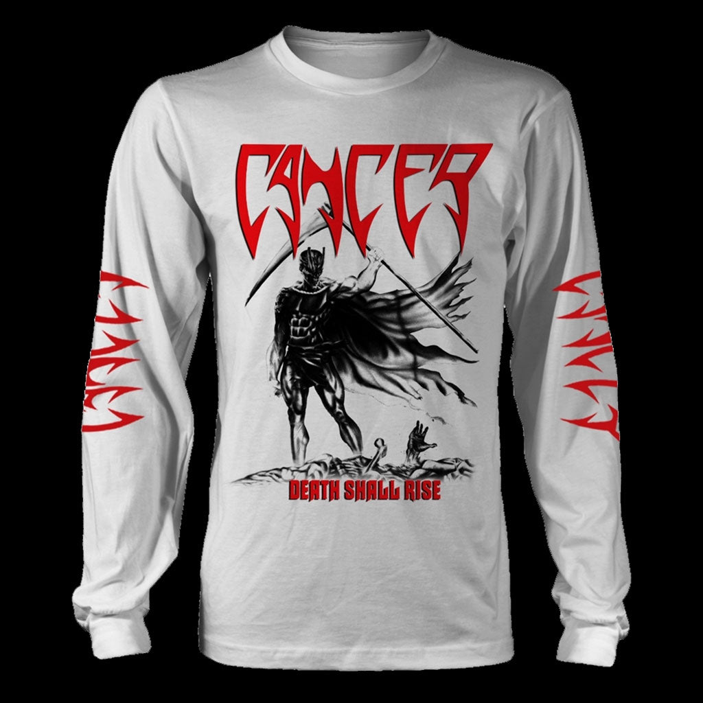 Cancer - Death Shall Rise (White) (Long Sleeve T-Shirt)
