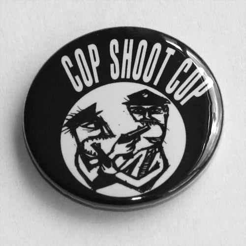 Cop Shoot Cop - White Logo and Cartoon (Badge)