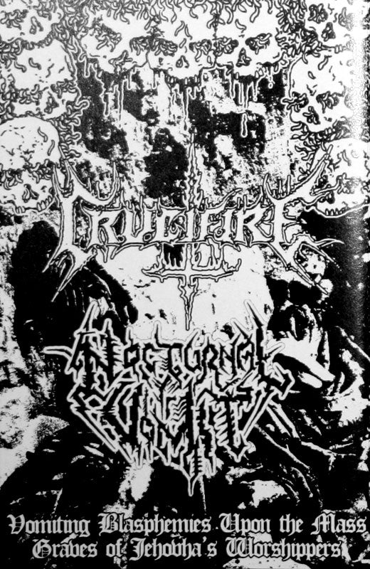 Crucifire / Nocturnal Vomit - Vomiting Blasphemies upon the Mass Graves of Jehovahs Worshippers (Cassette)