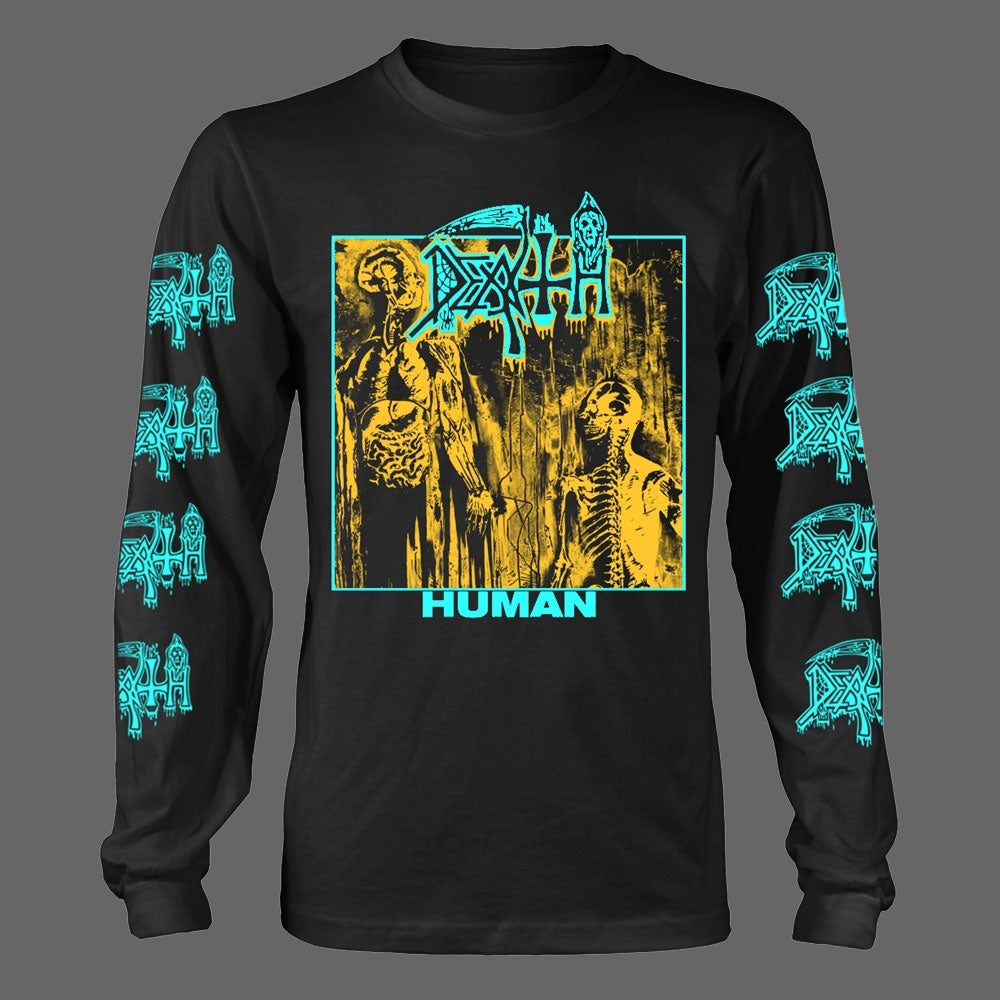 Death - Human (Blue & Yellow) (Long Sleeve T-Shirt - Pre-order: 2/10/2020)
