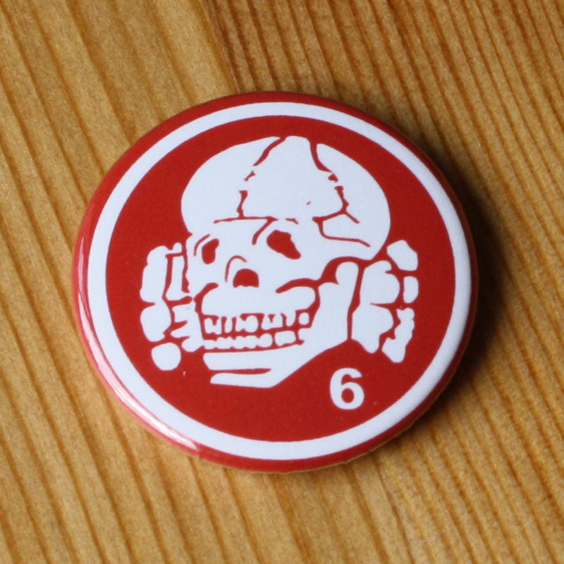 Death in June - Totenkopf (White on Red) (Badge)