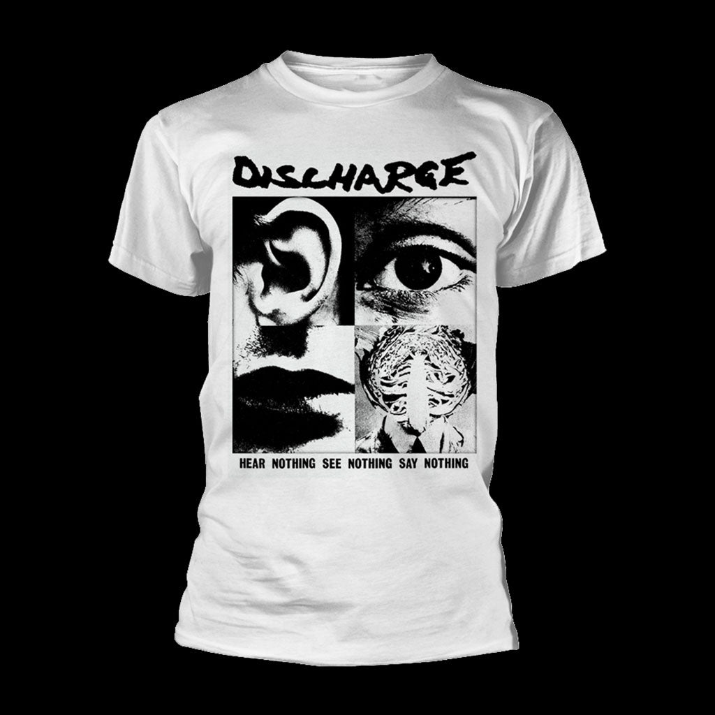 Discharge - Hear Nothing See Nothing Say Nothing (White) (T-Shirt)