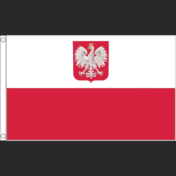 Flag of Poland with Coat of Arms (Flag)