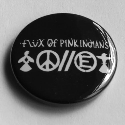 Flux of Pink Indians - White Logo and Symbols (Badge)