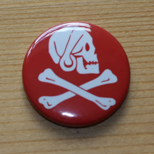 Jolly Roger Skull and Crossbones - Henry Every Red (Badge)