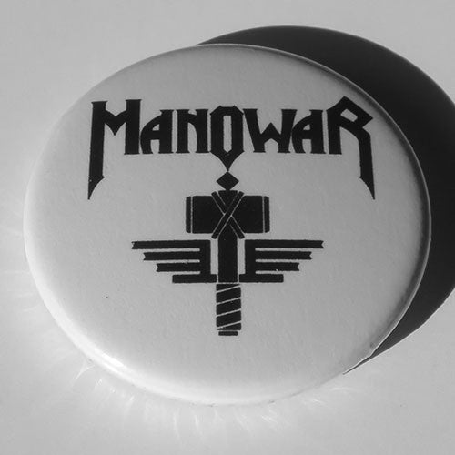 Manowar - Black Logo and Hammer (Badge)