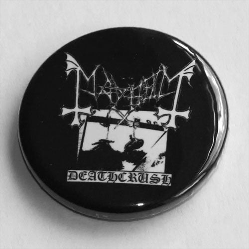 Mayhem - Deathcrush (Black and White) (Badge)