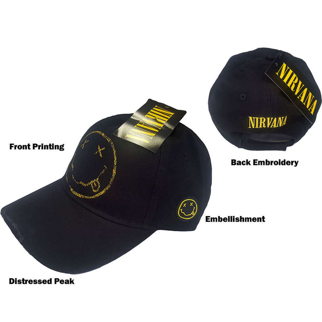 Nirvana - Distressed Smiley Face Logo (Cap)