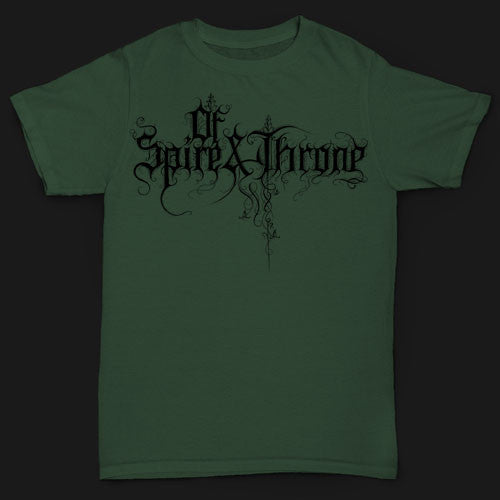 Of Spire and Throne - Black Logo on Green (T-Shirt)