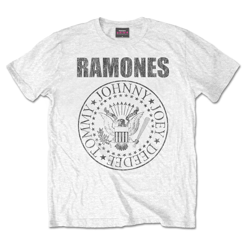 Ramones - Logo & Seal (White) (T-Shirt)