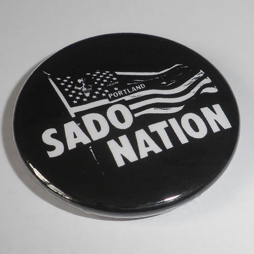 Sado-Nation - White Logo / Flag (Badge)