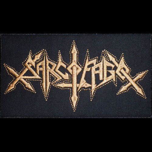 Sarcofago - Gold Logo (Large) (Embroidered Patch)