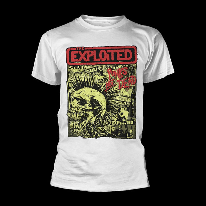 The Exploited - Punks Not Dead (Skull & Flyers) (White) (T-Shirt)