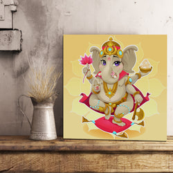 Yellow Ganesh Canvas 12x12