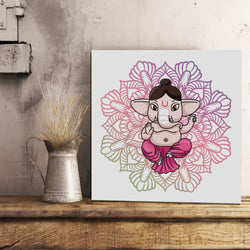 Pink Abstract Ganesh Canvas 12x12