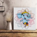 Blue Abstract Ganesh Canvas 12x12