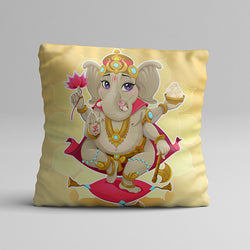 Yellow Ganesh Full Printed Pillow