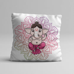 Pink Abstract Ganesh Full Printed Pillow