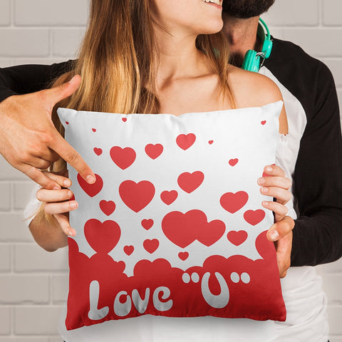 Lve You Heart Full Printed Pillow