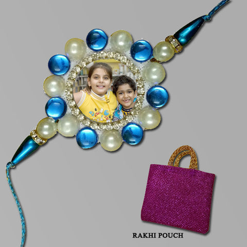 Blue Pearls Circle Rakhi