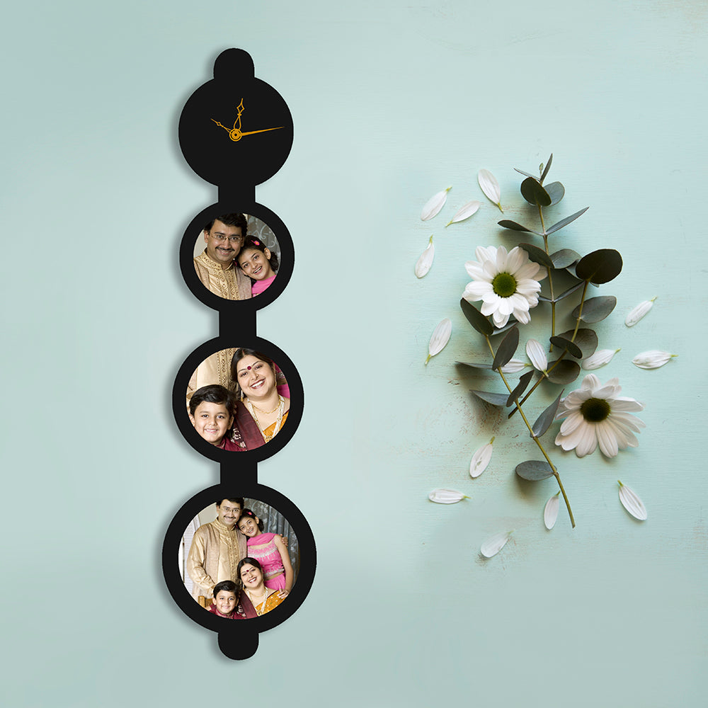 3 Picture Circle Vertical with Clock