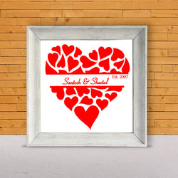 Heart with name & Date Frame