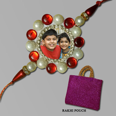 Red Pearls Round Rakhi