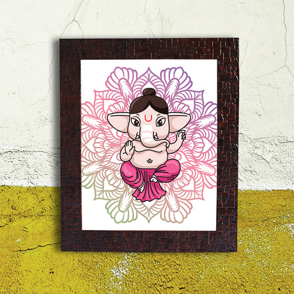 Pink Abstract Ganesh Frame