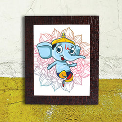 Cyan Abstract Ganesh Frame