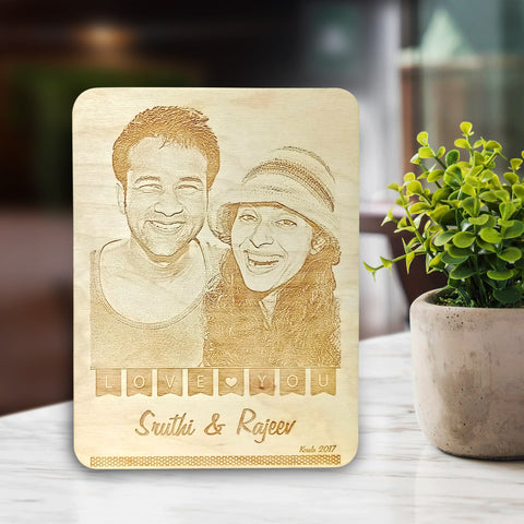 Couple Wooden Engraving