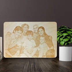 Family Wooden Engraving
