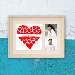 2 Pic Heart with name Frame