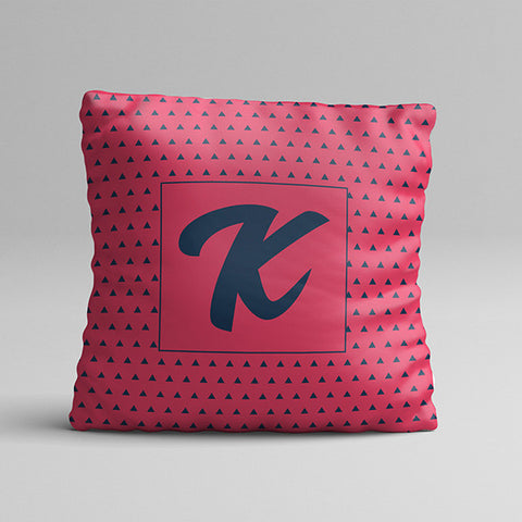 Pink K Letter Texture Full Printed Pillow