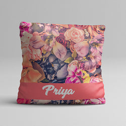 Pink Flower Texture Full Printed Pillow