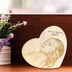 New Born Wooden Engraving