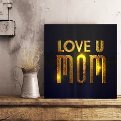 Gold Text Mom 12x12 Canvas