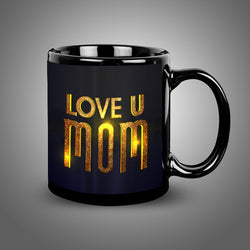 Luv U Mom Balck Mug