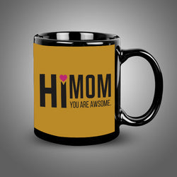 Hi Mom Black Mug