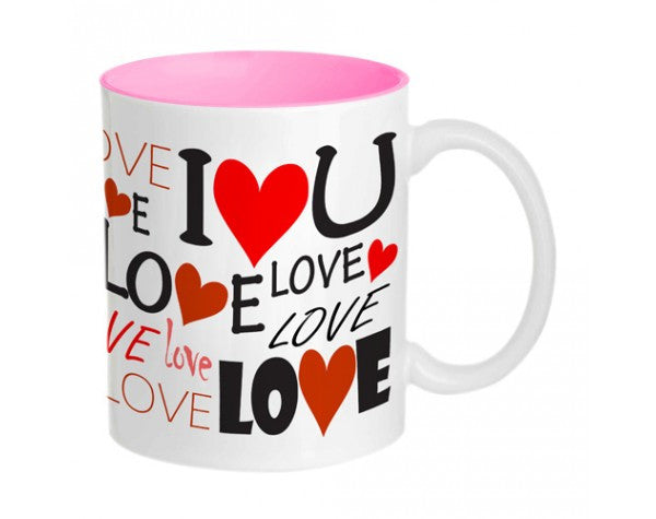 Love U Mug-Inside colour: Pink